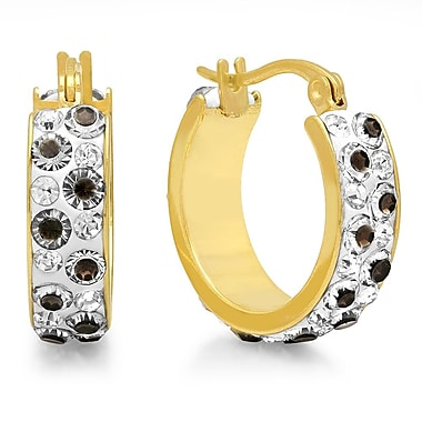 HMY Jewelry 18k Gold Plated Stainless Steel Black & White Crystal Hoops, 20mm, Yellow