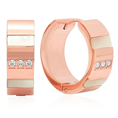 HMY Jewelry 18k Rose Gold Plated Stainless Steel CZ & Mother of Pearl Lined Huggies, 20mm, Rose