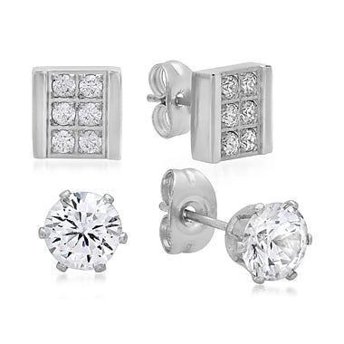 HMY Jewelry Set of 2 Stainless Steel CZ Square & CZ Stud Erarings, 6mm Stud 8mm Square, Silver