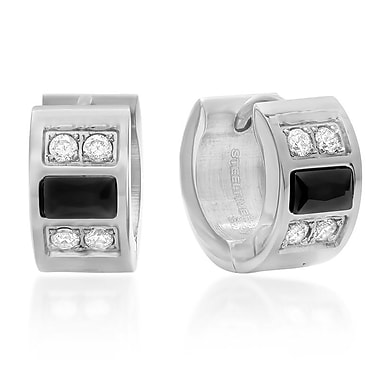 HMY Jewelry Stainless Steel Black Crystal & White CZ Huggies, 14mm, Silver