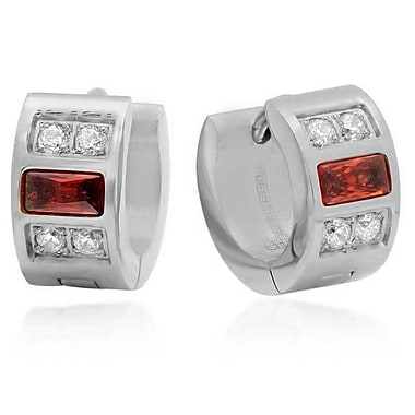 HMY Jewelry Stainless Steel Red Crystal & White CZ Huggies, 14mm, Silver