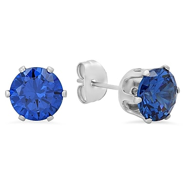 HMY Jewelry Stainless Steel Simulated Blue CZ Stud Earrings, 8mm, Silver