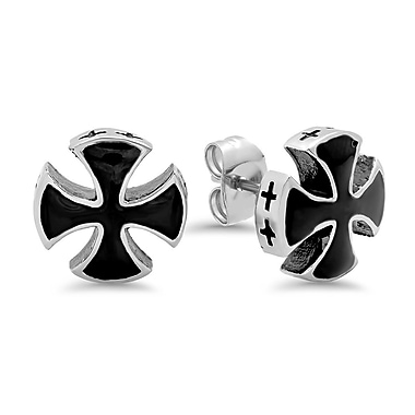 HMY Jewelry Stainless Steel Black Enamel Cross Studs, 0.4