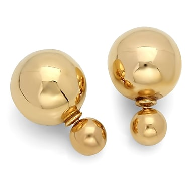 HMY Jewelry Double Sided 18k Gold Plated Stainless Steel Pearl Earrings, 16mm + 8mm, Yellow