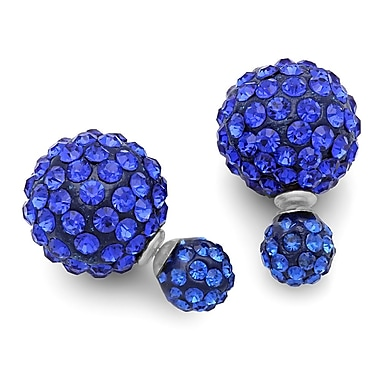 HMY Jewelry Stainless Steel Double Sided Blue CZ Fireball Earrings, 16mm + 8mm, Two Tone
