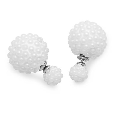 HMY Jewelry Stainless Steel Double Sided Simulated Pearl Cluster Ball Earrings, 16mm + 8mm, Two Tone