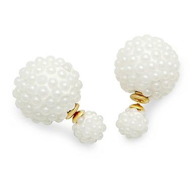 HMY Jewelry 18k Gold Plated Stainless Steel Double Sided Simulated Pearl Cluster Ball Earrings, 16mm + 8mm, Two Tone