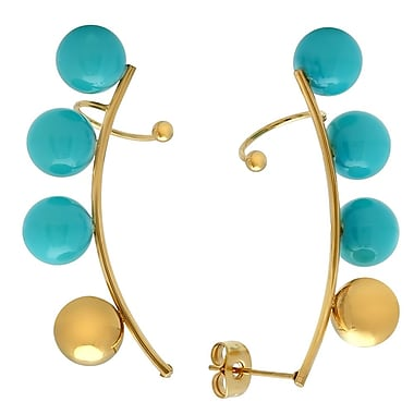 HMY Jewelry 18k Gold Plated Stainless Steel Aquamarine Beaded Ear Climber Cuff, 1.4