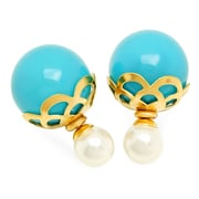 HMY Jewelry 18k Gold Plated Filigree Double Sided Blue & White Pearl Earrings, 16mm + 8mm, Two Tone