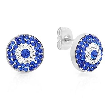 HMY Jewelry Stainless Steel Blue & White CZ Evil Eye Studs, 11mm, Silver