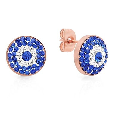 HMY Jewelry 18k Rose Gold Plated Stainless Steel Blue & White CZ Evil Eye Studs, 11mm, Rose