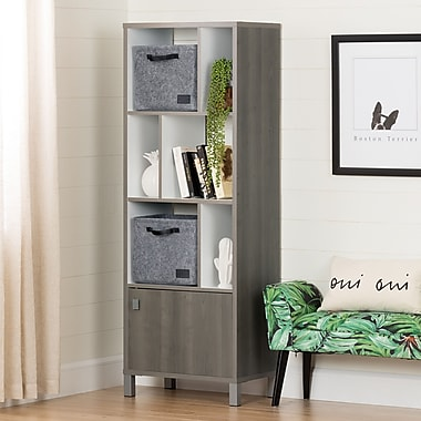 South Shore Expoz 6-Cube Shelving Unit with Door and 2 Large Woven Felt Baskets, Gray Maple and Pure White (100265)
