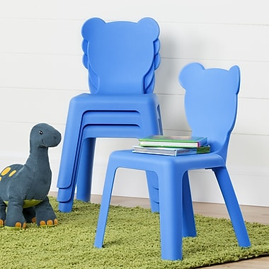 South Shore Crea Kids Plastic Stacking Chairs, Blue, 4/Pack (100176)