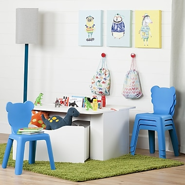 South Shore Crea Pure White Kids Activity Table and 4 Blue Plastic Chairs Set (100177)