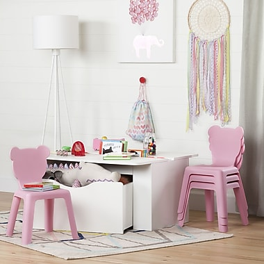 South Shore Crea Pure White Kids Activity Table and 4 Pink Plastic Chairs Set (100203)