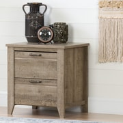 South Shore Lionel 2-Drawer Nightstand, Weathered Oak (10253)