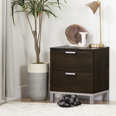 South Shore Flexible 2-Drawer Nightstand, Brown Oak (10518)
