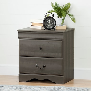 South Shore Vintage 2-Drawer Nightstand, Gray Maple (10305)