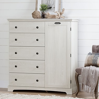 South Shore Avilla Door Chest with 5 Drawers, Winter Oak (10246)