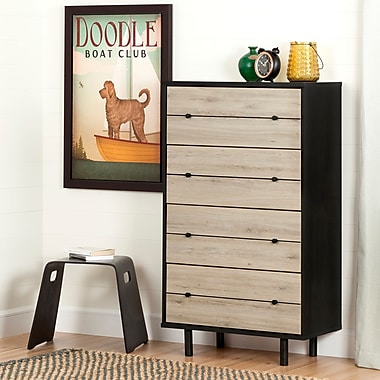 South Shore Morice Mid-Century Modern 4-Drawer Chest, Ebony and Rustic Oak (10502)