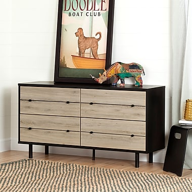 South Shore Morice Mid-Century Modern 4-Drawer Double Dresser, Ebony and Rustic Oak (10501)
