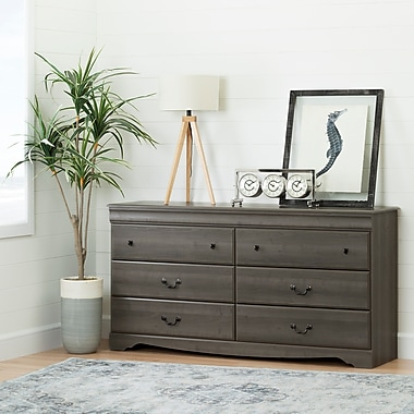 South Shore Vintage 6-Drawer Double Dresser, Gray Maple (10303)
