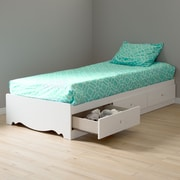 "South Shore Crystal 39"" Twin Mates Bed with 3 Drawers, Pure White (3550080)"