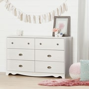 South Shore Caravell 6-Drawer Double Dresser, White Wash (10298)