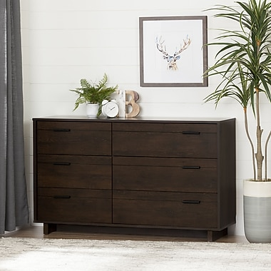 South Shore Fynn 6-Drawer Double Dresser, Brown Oak (10279)