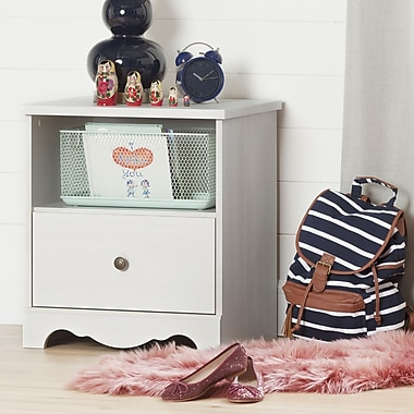 South Shore Caravell 1-Drawer Nightstand, White Wash (10300)