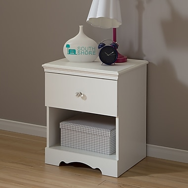 South Shore Crystal 1-Drawer Nightstand, Pure White (3550062)