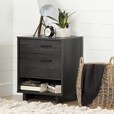 South Shore Fynn Nightstand with Drawers and Cord Catcher, Gray Oak (10553)