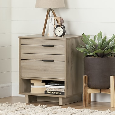 South Shore Fynn Nightstand with Drawers and Cord Catcher, Rustic Oak (10554)