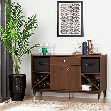 South Shore Olly Mid-Century Modern Sideboard Storage Cabinet, Brown Walnut (10522)