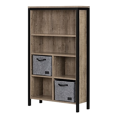 South Shore Munich 6-Shelf Bookcase with Cubes and 2 Large Woven Felt Baskets, Weathered Oak and Matte Black (100268)