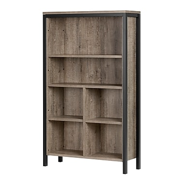 South Shore Munich 6-Shelf Bookcase with Cubes, Weathered Oak and Matte Black (10552)