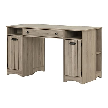 South Shore Artwork Craft Table with Storage, Rustic Oak (10287)