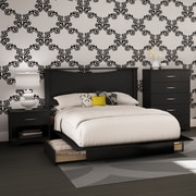 South Shore Step One 4-Piece Bedroom Set, Full, Pure Black (3107A4)
