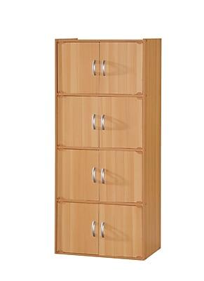 Hodedah HID44 8-Door Wood Storage Cabinets, Beech
