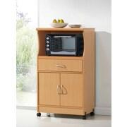 Hodedah Rectangular Microwave Cart, Beech (HIK77)