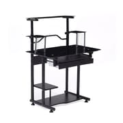 Hodedah 34'' Rectangular Glass Modern Computer Desk, Black (HIS210 BLACK)