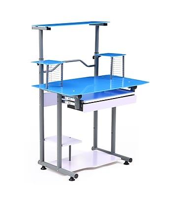 Hodedah Modern Glass/Metal Computer Desk, (HIS210 Blue)