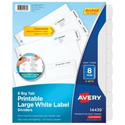 Avery Big Tab Printable Large White Label Dividers with Easy Peel 14439, 8 Tabs, 4 Sets