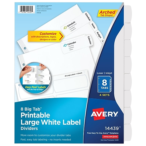 avery big tab printable large white label dividers with easy peel