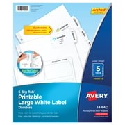 Avery Big Tab Printable Large White Label Dividers with Easy Peel 14440, 5 Tabs, 20 Sets