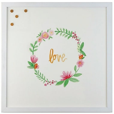 Petal Lane Watercolor Wreath Love Magnetic Memo Board; 1'4'' H x 1'4'' W x 2'' D