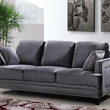 Willa Arlo Interiors Dia Modern Nailhead Sofa; Gray