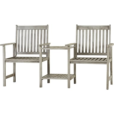 Loon Peak Brea Acacia Twin Seat Garden Bench; Grey
