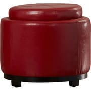 Alcott Hill Baytown Leather Ottoman; Red
