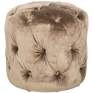 Darby Home Co Wolstonton Tufted Round Ottoman; Mink Brown
